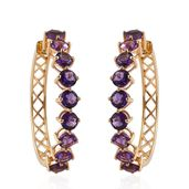 Uruguayan Amethyst 14K YG Over Sterling Silver Huggie Hoop Earrings TGW 8.80 cts.