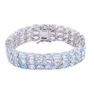 Sky Blue Topaz Sterling Silver Bracelet (6.50 In) TGW 44.250 cts.