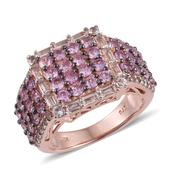 Madagascar Pink Sapphire, White Topaz 14K RG Over Sterling Silver Cluster Wide Band Ring (Size 7.0) TGW 4.00 cts.