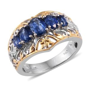 Himalayan Kyanite 14K YG and Platinum Over Sterling Silver 5 Stone Ring (Size 6.0) TGW 2.740 cts.