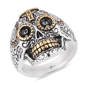 Halloween ION Plated Black, YG and Stainless Steel Skull Men's Ring (Size 12.0)