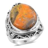 Artisan Crafted Bumble Bee Jasper Sterling Silver Ring (Size 7.0) TGW 13.910 cts.