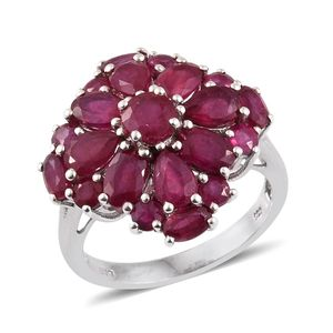 Niassa Ruby Platinum Over Sterling Silver Ring (Size 8.0) TGW 8.41 cts.
