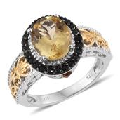 Yellow Scapolite, Santa Ana Medeira Citrine, Thai Black Spinel 14K YG and Platinum Over Sterling Silver Openwork Ring (Size 7.0) TGW 3.75 cts.