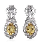 Golden Apatite, White Topaz Platinum Over Sterling Silver Earrings TGW 2.640 Cts.