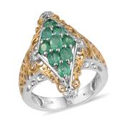 Boyaca Colombian Emerald 14K YG and Platinum Over Sterling Silver Openwork Ring (Size 7.0) TGW 1.600 cts.