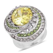 Simulated Yellow and White Diamond, Austrian Crystal Stainless Steel Ring (Size 6.0) TGW 6.50 cts.