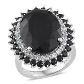 Australian Black Tourmaline, Thai Black Spinel, White Topaz Platinum Over Sterling Silver Ring (Size 7.0) TGW 23.41 cts.