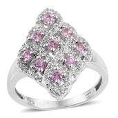 Madagascar Pink Sapphire, White Topaz Platinum Over Sterling Silver Ring (Size 9.0) TGW 1.56 cts.