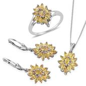 Yellow Sapphire Platinum Over Sterling Silver Lever Back Earrings, Ring (Size 8) and Pendant With Chain (20 in) TGW 5.480 cts.