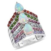 Ethiopian Welo Opal, Multi Gemstone Platinum Over Sterling Silver Ring (Size 9.0) TGW 4.42 cts.