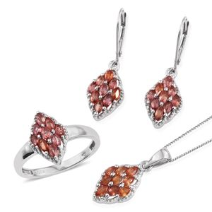 Sunset Red Sapphire Platinum Over Sterling Silver Lever Back Earrings, Ring (Size 7) and Pendant With Chain (20 in) TGW 4.150 cts.