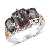 Northern Lights Mystic Topaz, Diamond Accent 14K YG and Platinum Over Sterling Silver Ring (Size 5.0) TGW 8.07 cts.