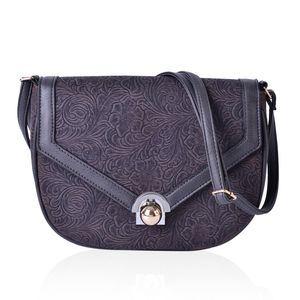Graphite Floral Embossed Faux Leather Half Moon Saddle Bag with Unique Closure (10x3x7 in)
