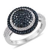 Blue Diamond (IR), Diamond Platinum Over Sterling Silver Ring (Size 8.0) TDiaWt 0.99 cts, TGW 0.990 cts.