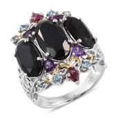 Australian Black Tourmaline, Multi Gemstone 14K YG and Platinum Over Sterling Silver Openwork Ring (Size 11.0) TGW 14.650 cts.