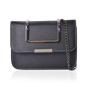 J Francis - Multi-Function Black Faux Leather Flap Over Crossbody Messenger Bag (7.5x2x5.5 in)