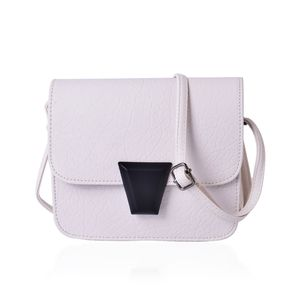 J Francis - White Faux Leather Flap Over Crossbody Bag (7.5x2x6 in)