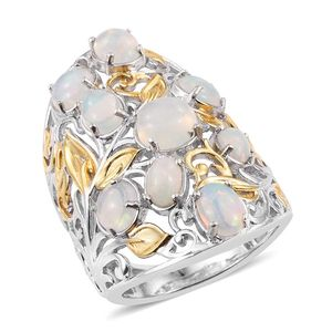 Ethiopian Welo Opal 14K YG and Platinum Over Sterling Silver Openwork Knuckle Ring (Size 6.0) TGW 4.77 cts.