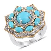 Arizona Sleeping Beauty Turquoise, White Topaz 14K YG and Platinum Over Sterling Silver Statement Ring (Size 6.0) TGW 4.55 cts.