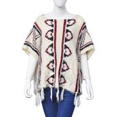 J Francis - White 100% Acrylic Tribal Winter Poncho with Tassel (30x22 in)