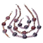 Brown and Purple Glass Silvertone Set of 2 Bracelets (7.5 in) and Necklaces (20.00 In)
