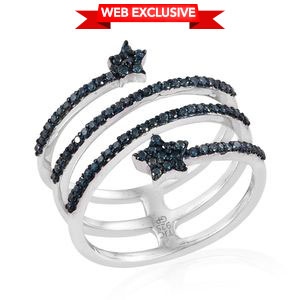 GP Certified Blue Diamond (IR) Platinum Over Sterling Silver Star Bypass Ring (Size 9.0) TDiaWt 0.48 cts, TGW 0.51 cts.
