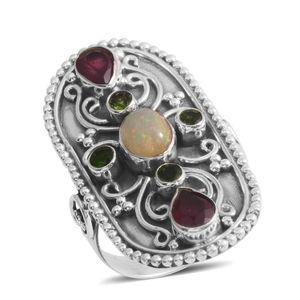 Ethiopian Welo Opal, Multi Gemstone Sterling Silver Ring (Size 10.0) TGW 3.360 cts.