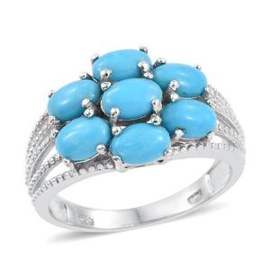 Arizona Sleeping Beauty Turquoise Platinum Over Sterling Silver Ring (Size 7.0) TGW 2.460 cts.