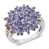 Tanzanite 14K YG and Platinum Over Sterling Silver Floral Ring (Size 7.0) TGW 5.10 cts.