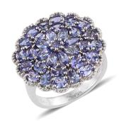 Tanzanite Platinum Over Sterling Silver Cluster Ring (Size 9.0) TGW 4.87 cts.