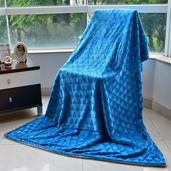 Blue Brushed Flannel Reversible Sherpa Throw (50x70 in)