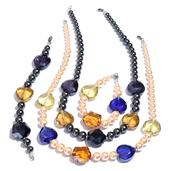 Simulated Gray and Peach Pearl, Blue and Yellow Glass Silvertone Set of 2 Bracelets (7.5 In) and Necklaces (20.00 In)