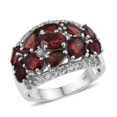 Mozambique Garnet, White Topaz Platinum Over Sterling Silver Cluster Ring (Size 8.0) TGW 8.330 cts.