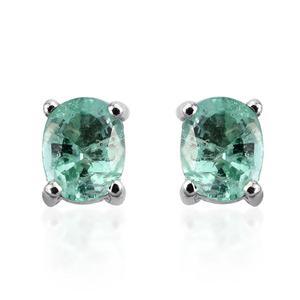 14K WG Boyaca Colombian Emerald Oval Stud Earrings TGW 0.620 Cts.