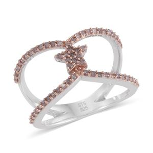 Natural Pink Diamond 14K RG and Platinum Over Sterling Silver Open Band Ring (Size 7.0) TDiaWt 0.53 cts, TGW 0.53 cts.