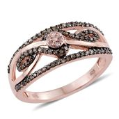 Natural Pink Diamond, Champagne Diamond 14K RG Over Sterling Silver Openwork Ring (Size 7.0) TDiaWt 0.50 cts, TGW 0.50 cts.