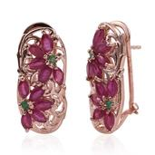 Royal Jaipur Niassa Ruby, Kagem Zambian Emerald, Thai Ruby 14K RG Over Sterling Silver Omega Clip Earrings TGW 4.360 Cts.