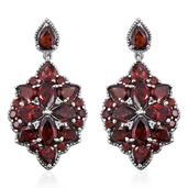 Mozambique Garnet, White Topaz Platinum Over Sterling Silver Earrings TGW 22.220 Cts.