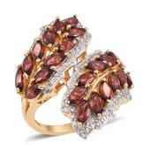 Mozambique Garnet, White Topaz 14K YG Over Sterling Silver Ring (Size 8.0) TGW 7.720 cts.