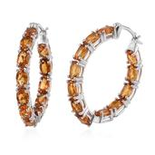 Santa Ana Madeira Citrine Platinum Over Sterling Silver Inside Out Hoop Earrings TGW 10.20Cts.