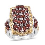 Mozambique Garnet 14K YG and Platinum Over Sterling Silver Ring (Size 7.0) TGW 7.60 cts.