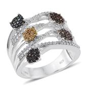 Multi Diamond (IR) Platinum Over Sterling Silver Openwork Elongated Ring (Size 7.0) TDiaWt 1.00 cts, TGW 1.00 cts.