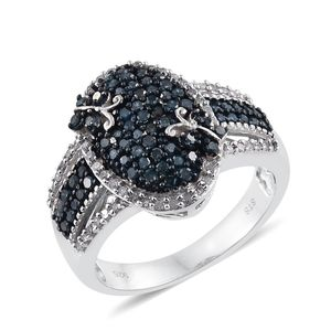 Blue Diamond (IR), Diamond Blue Rhodium & Platinum Over Sterling Silver Ring (Size 7.0) TDiaWt 1.01 cts, TGW 1.01 cts.