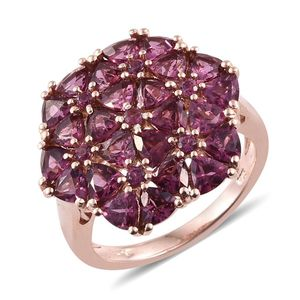 Jeanine's Volcanic Value Orissa Rhodolite Garnet 14K RG Over Sterling Silver Trillion Cut Cluster Ring (Size 7.0) TGW 7.550 cts.