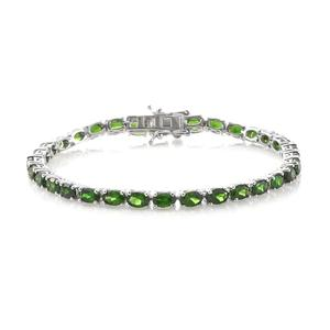 Russian Diopside Platinum Over Sterling Silver Tennis Bracelet (8.00 In) TGW 16.90 cts.