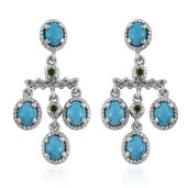 Arizona Sleeping Beauty Turquoise, Russian Diopside, White Topaz Platinum Over Sterling Silver Chandelier Earrings TGW 3.040 Cts.