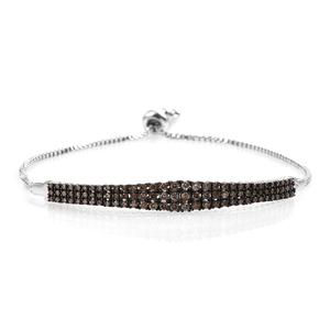 GP Certified Champagne Diamond Platinum Over Sterling Silver Magic Ball Bar Bracelet (Adjustable) TDiaWt 0.98 cts, TGW 1.012 cts.