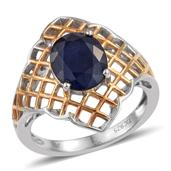 Kanchanaburi Blue Sapphire 14K YG and Platinum Over Sterling Silver Ring (Size 6.0) TGW 5.35 cts.