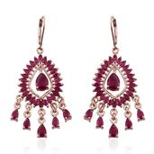 Niassa Ruby 14K RG Over Sterling Silver Lever Back Chandelier Earrings TGW 12.60 cts.